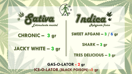 Marijuana Menu for Abcda in Barcelona Spain