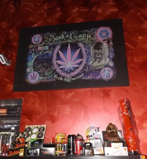 Marijuana Bank Note Art at Alhambra Cannabis Club