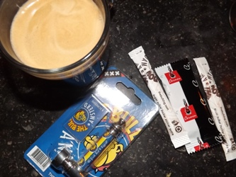 Cup of coffee and a pipe from Bulldog in Leidsplein Amsterdam