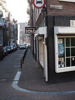 Side street view of Coffeeshop Solo in Amsterdam