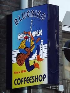 Big sign for Bluebird Coffeeshop near Nieumarkt in Amsterdam