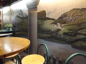 Greek style mural downstairs at Bluebird Coffeeshop AMS