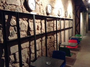 Wall of clocks at Ascociacio 420 in Barcelona