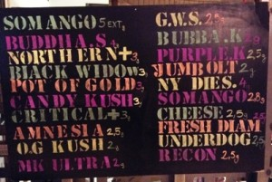 Weed menu at club 420 in BCN