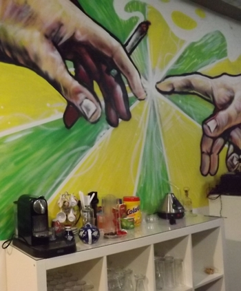 Back wall of the dispensary at Sweet Dreams in Barcelona