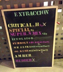 Extractions menu at club 420 in the Gothic quarter of BCN