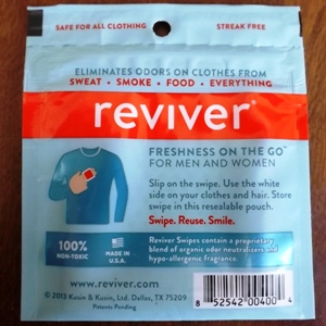 Reviver Clothing Wipes - back of package