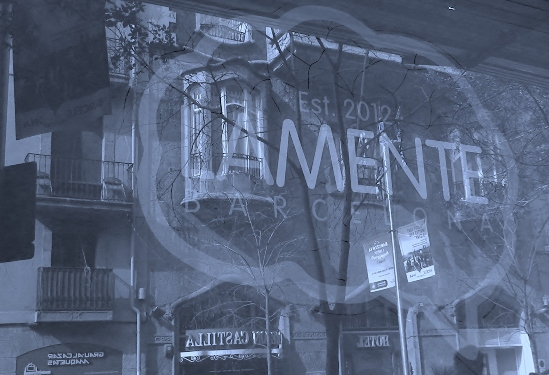 View of LaMente Club looking out the window in Black and White