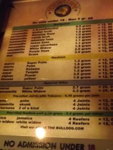Weed menu at Bulldog in Amsterdam