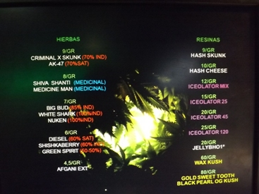 Weed menu at Green Age in Barcelona