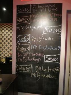 Board of events at La Mesa cannabis club