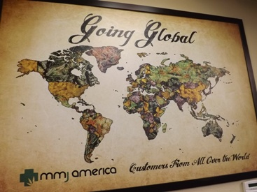 Customer map at MMJ America marijuana dispensary in Denver Colorado