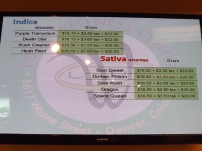 Marijuana prices at Lodo