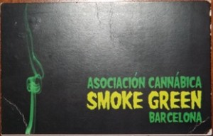 Membership card for Smoke Green coffee shop in Barcelona