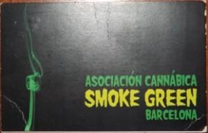 Membership card for Smoke Green coffee shop in Barcelona