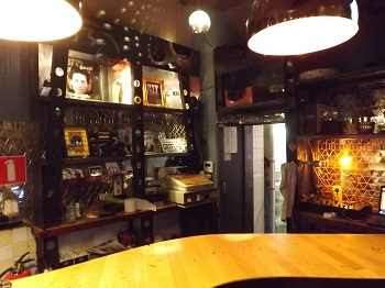 Behind the bar at The Doors Coffeeshop in Amsterdam NL