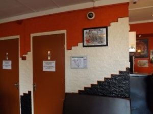 Inside painted wall of Voyagers coffeeshop in AMS