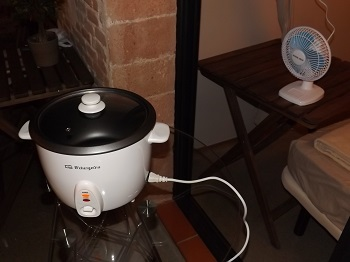 Rice cooker and fan for making cannabis oil