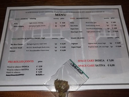 Weed menu at coffeeshop reefer in Amsterdam