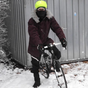 Suited up to ride in 6 inches snow at 17 degrees