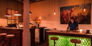 The bar at DR DOU cannabis club in Barcelona
