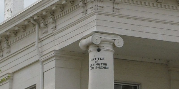 Cannon shot lodged in Lexington Courthouse
