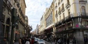 Beautiful street in downtown Madrid Spain