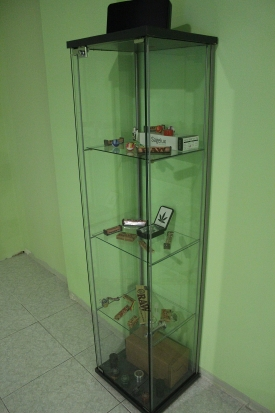 Glass shelf at Los Secretos de Maria weed club in Madrid