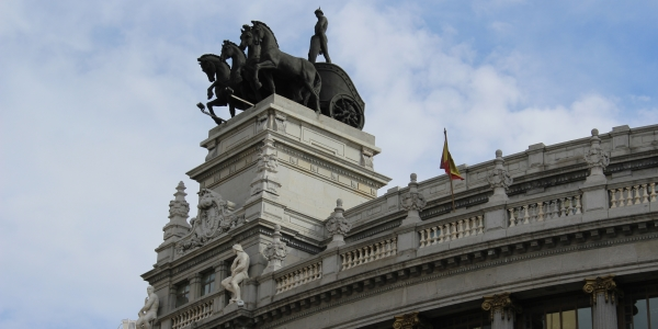 Horsemen on a building in Madrid
