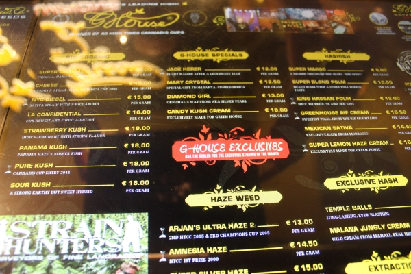 Weed Menu at Green House Coffeeshop AMS