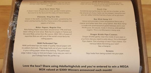 Dollar High Club menu of items