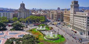 Placa Catalunya in dowtown Barcelona