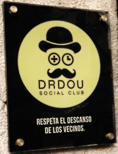 Sign outside Barcelonas Dr Dou Weed Club