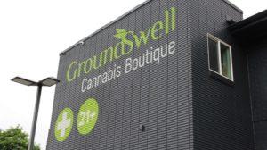 Beautiful sign on side of Groundswell marijuana dispensary in Denver Colorado