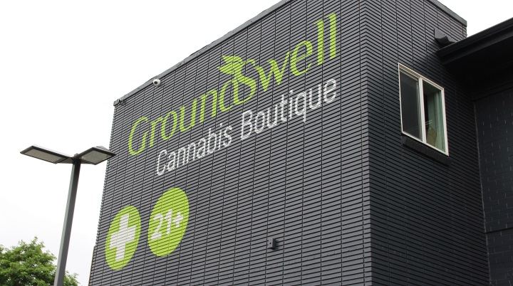Beautiful sign on side of Groundswell marijuana dispensary in Denver Colorado