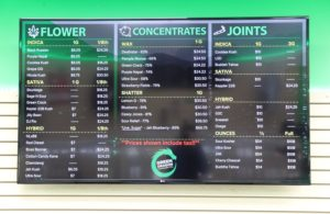 The cannabis menu at Green Dragon Denver Dispensary