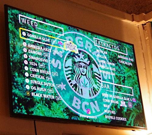 Weed Menu at Stargrass BCN in Catalunya Spain
