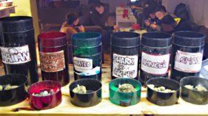 Marijuana Selection at Green Shot club in Madrid Spain