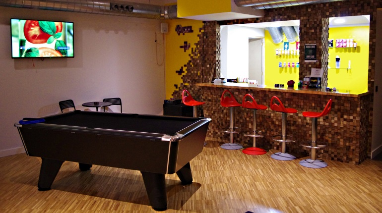 Pool Table and Snacks Bar at Mon Ami Cannabis Social Club in Barcelona