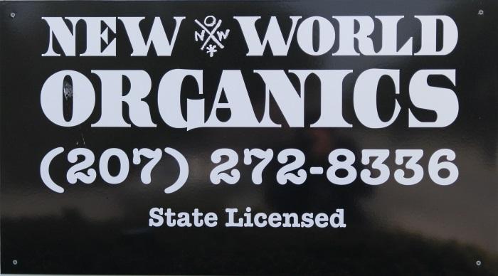 New World Organics Sign in Belfast Maine