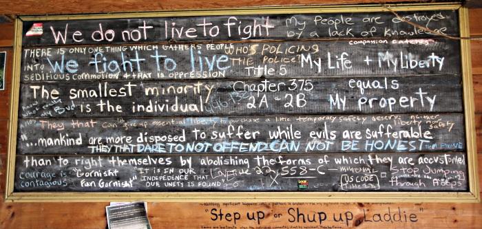 Activism board at Cynthia Joy Rosen Cannabis Farm Maine