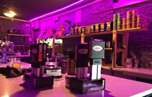 Bar area at The Plug Cannabis Club in Barcelona Spain