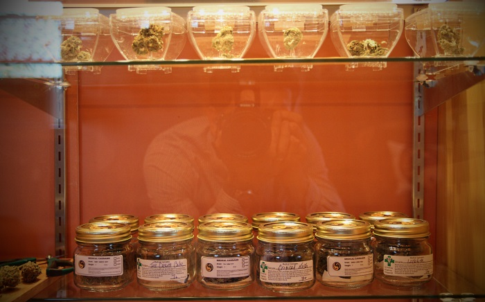 Cannabis in jars at Sensi Sensei marijuana dispensary in Maine