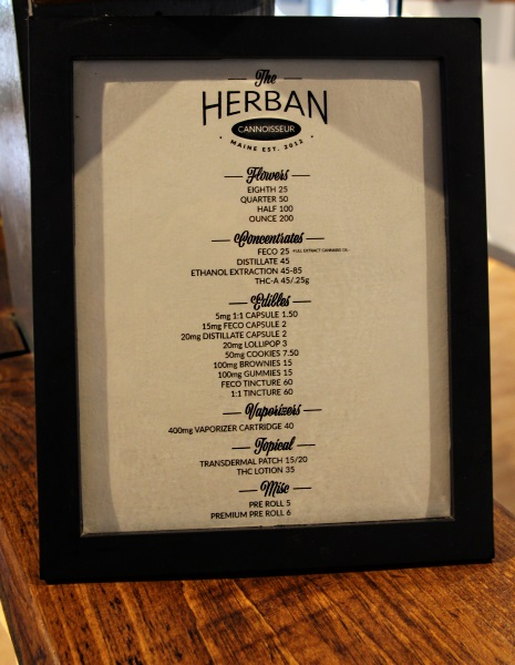 Cannabis menu at Herban Cannoisseur Maine marijuana dispensary