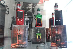 Handheld Vape devices at Destioney Pinkhams shop in Belfast Maine