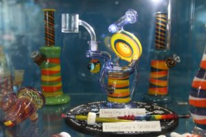 Local artisan glass at Destioney Pinkhams Rip Tide Smoke Shop in Belfast Maine