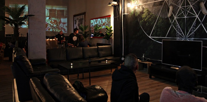 Video and movie screens at Chamaneria cannabis club Barcelona