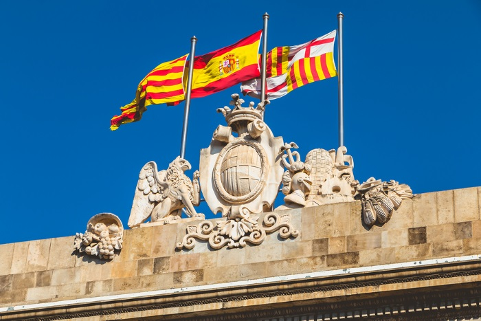 Outside the Palace Building in Barcelona Spain
