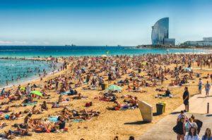 The beach of Barceloneta and W Hotel in Barceloneta Barcelona Spain