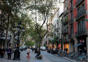 Paseo del born, main street near jazz clubs and designer stores.